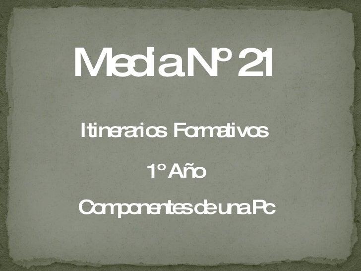 Media Nº 21 Itinerarios   Formativos  1º Año Componentes de una Pc
