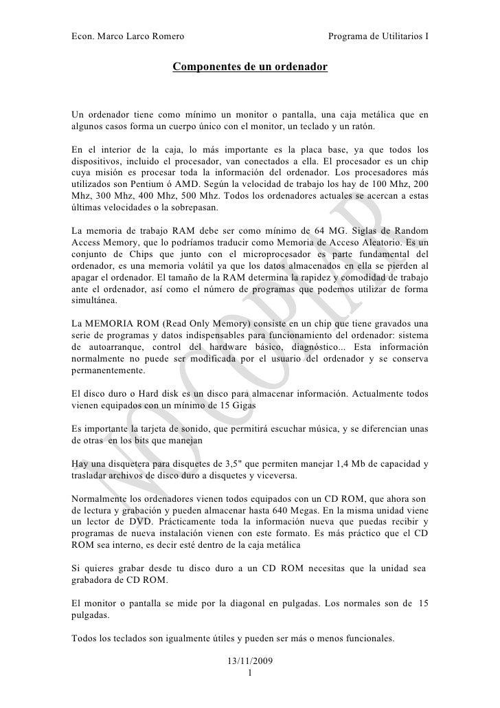 Econ. Marco Larco Romero                                       Programa de Utilitarios I                           Compone...