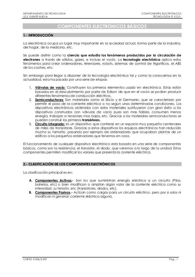 DEPARTAMENTO DE TECNOLOGIAI.E.S. FUENTE NUEVACOMPONENTES ELECTRÓNICOSTECNOLOGÍA 3º E.S.O.CURSO 2.006/2.007 Pág.- 1COMPONEN...