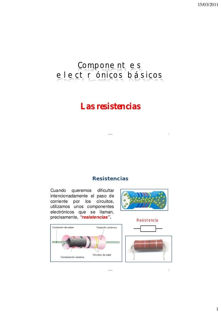 15/03/2011      Componentes  electrónicos básicos            Iniciación profesional a la             Las resistencias     ...