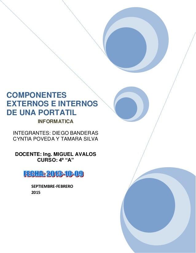 Componentes externos e internos de una portatil
