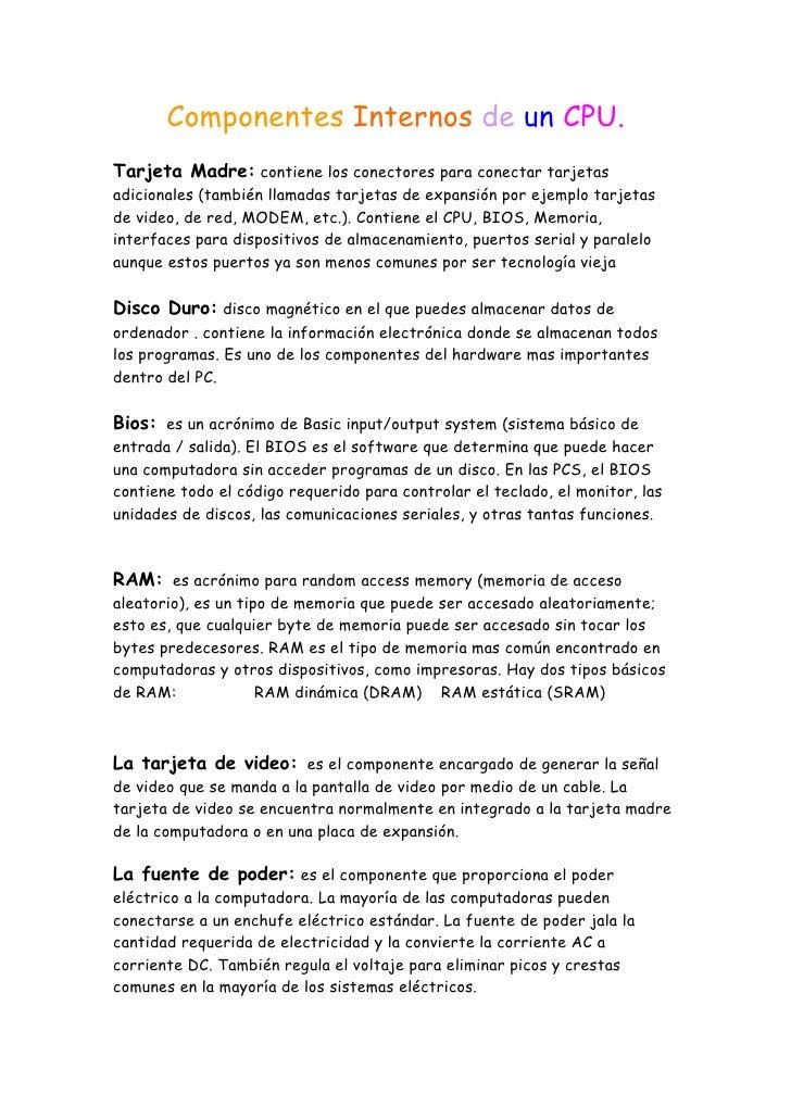 Componentes Internos De Un Cpu