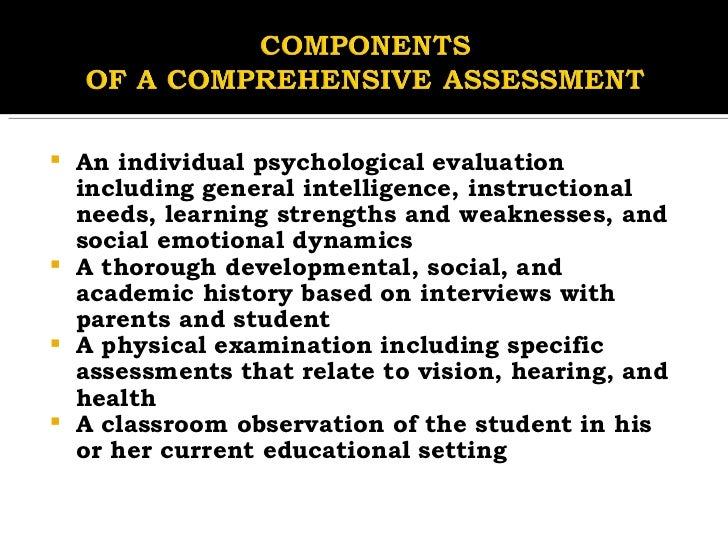 Components & Types of Assessment methods