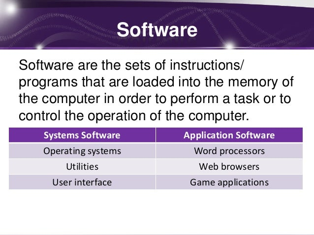 IT system and it's software and hardware components?