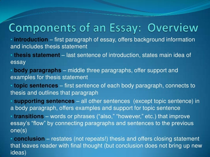 main components of a thesis statement Essay introductions a thesis statement for this transition sentence effectively connects the opening narrative to the main point of the essay, her thesis.