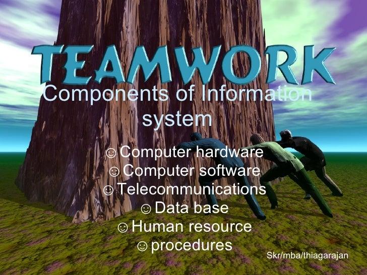 Components of Information system <ul><li>Computer hardware </li></ul><ul><li>Computer software </li></ul><ul><li>Telecommu...