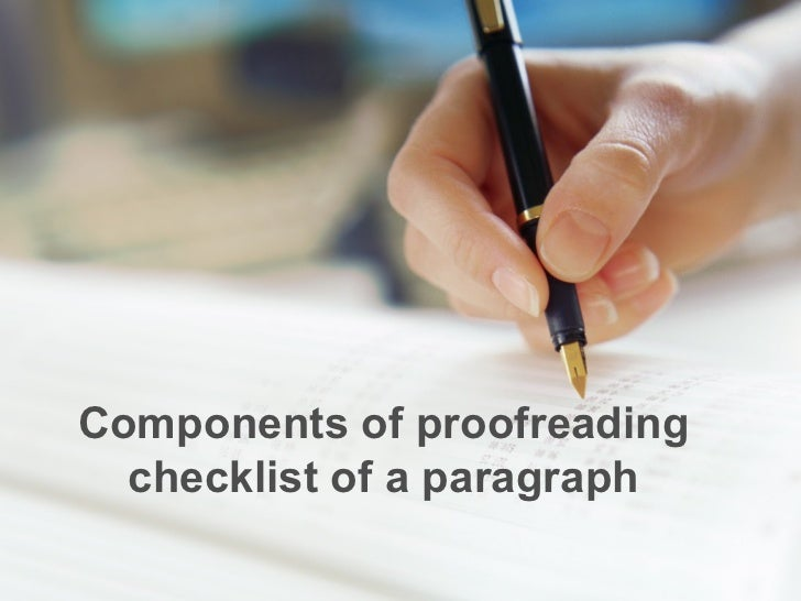 Components of proofreading checklist of a paragraph