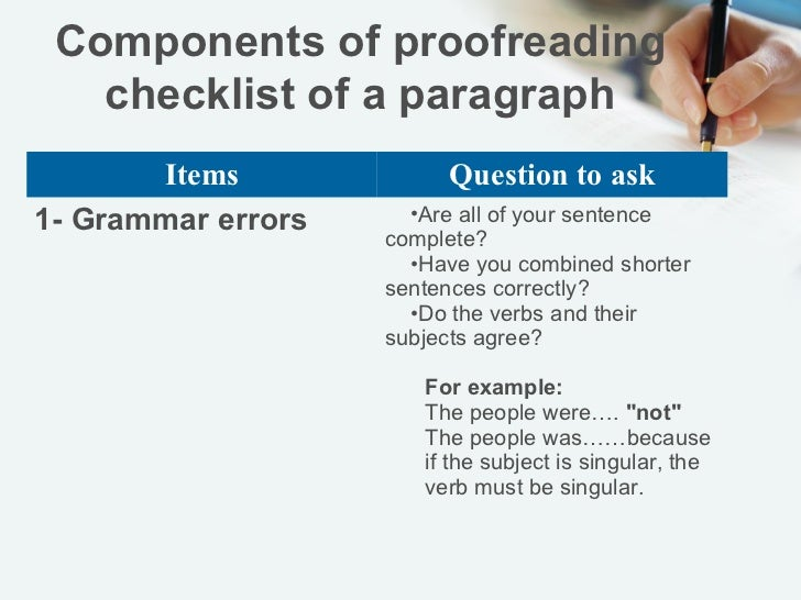 Proofreading paragraph