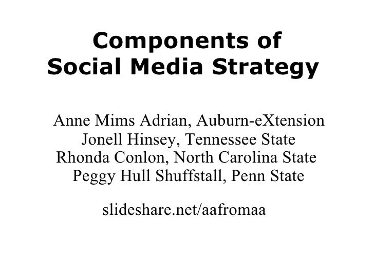 Components ofSocial Media Strategy <br /> Anne Mims Adrian, Auburn-eXtension Jonell Hinsey, Tennessee State<br />Rhonda Co...
