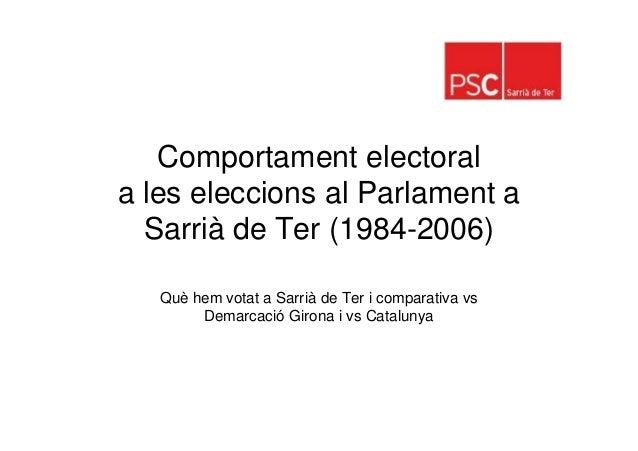 Comportament electoral eleccions Parlament - Sarrià de Ter 84-06