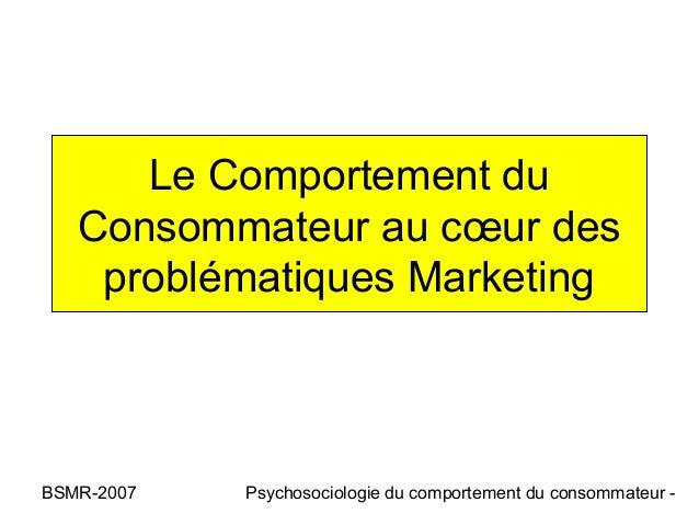 Le Comportement du   Consommateur au cœur des    problématiques MarketingBSMR-2007   Psychosociologie du comportement du c...