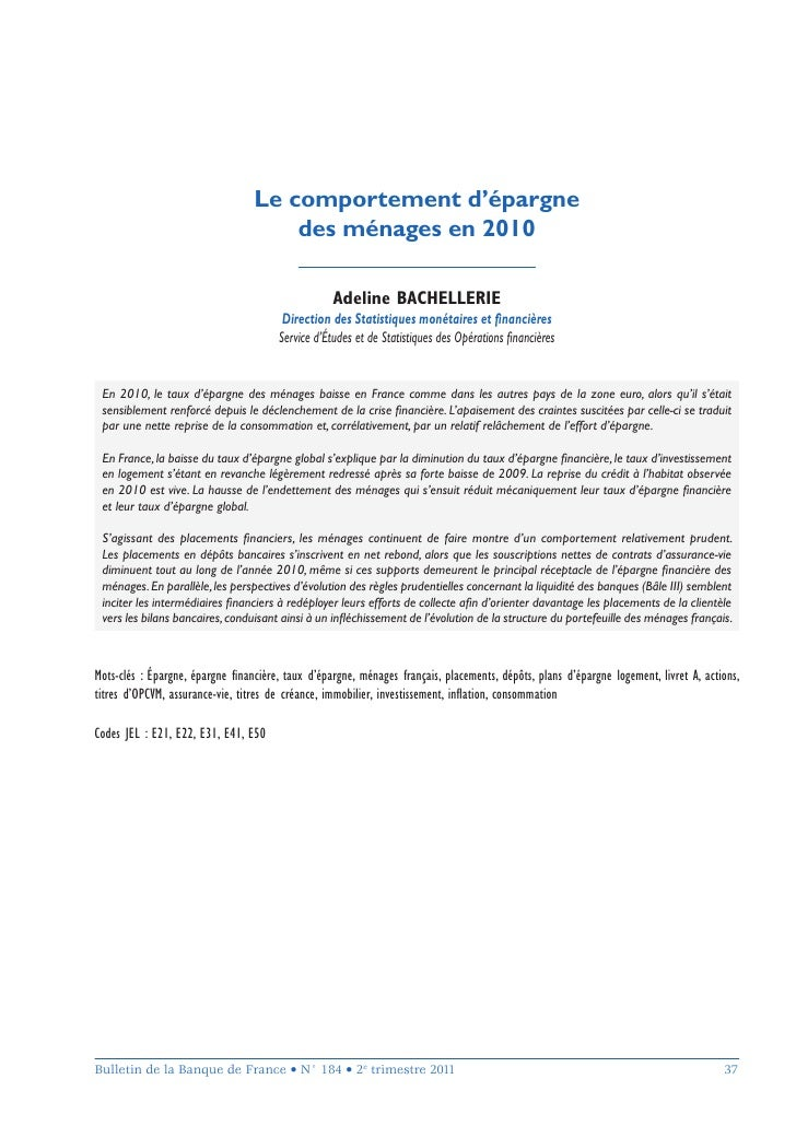 Comportement epargne menages 2010 bulletin banque de france