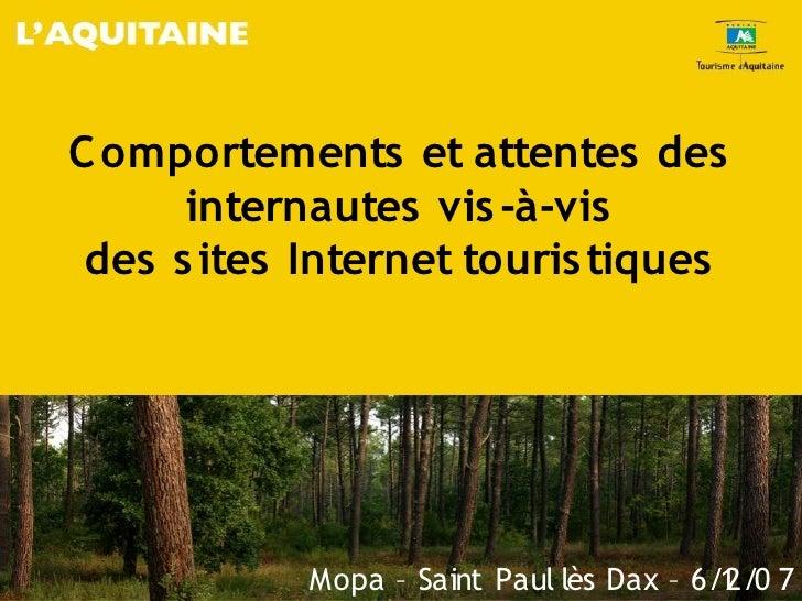 Comportements Et Attentes Des Internautes Vis à Vis Des Sites Internet Touristiques