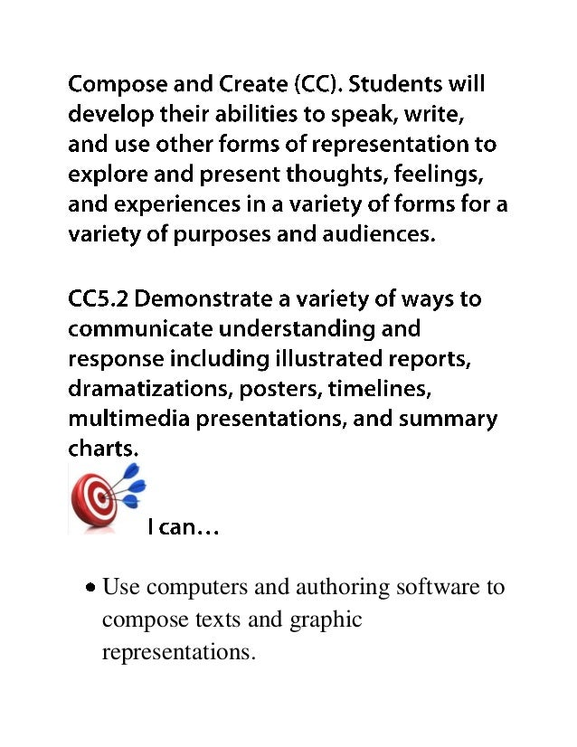 Use computers and authoring software to compose texts and graphic representations.