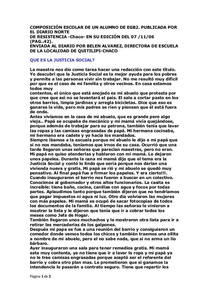 COMPOSICIÓN ESCOLAR DE UN ALUMNO DE EGB2. PUBLICADA POR EL DIARIO NORTEDE RESISTENCIA -Chaco- EN SU EDICIÓN DEL 07 /11/06(...