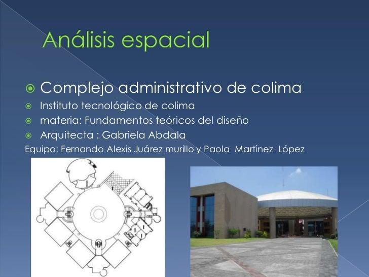 Análisis espacial<br />Complejo administrativo de colima<br />Instituto tecnológico de colima<br />materia: Fundamentos te...