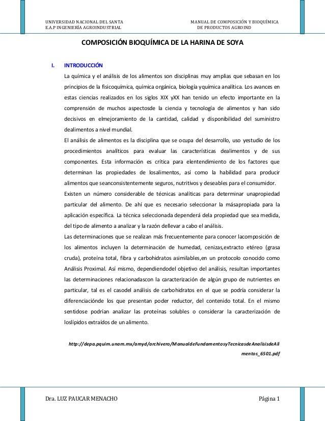 UNIVERSIDAD NACIONAL DEL SANTA E.A.P INGENIERÍA AGROINDUSTRIAL  MANUAL DE COMPOSICIÓN Y BIOQUÍMICA DE PRODUCTOS AGROIND  C...