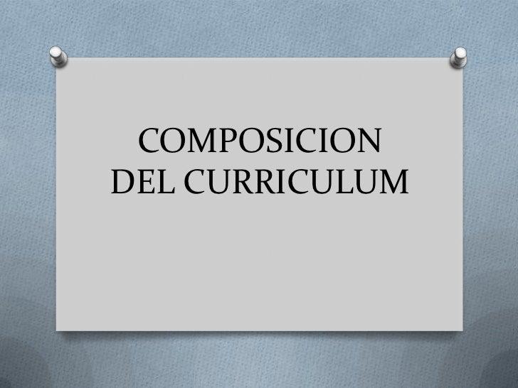 Composicion del curriculum presentacion en power