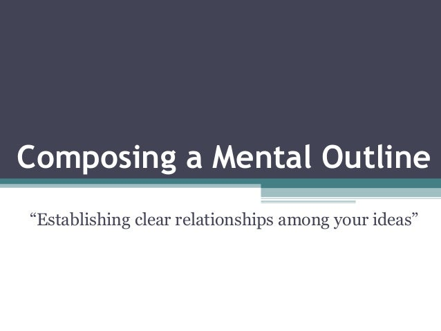 """Composing a Mental Outline """"Establishing clear relationships among your ideas"""""""