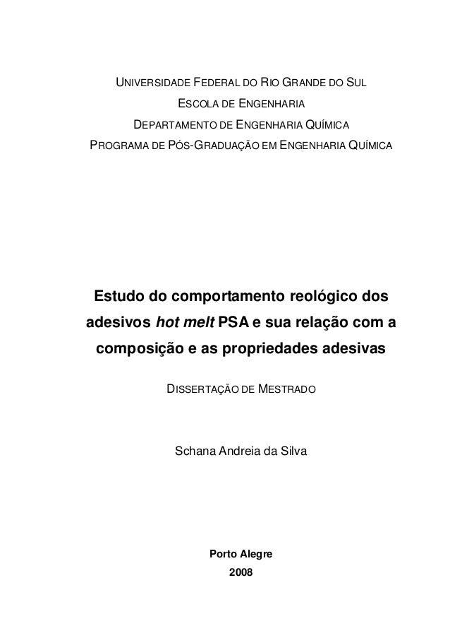 UNIVERSIDADE FEDERAL DO RIO GRANDE DO SUL ESCOLA DE ENGENHARIA DEPARTAMENTO DE ENGENHARIA QUÍMICA PROGRAMA DE PÓS-GRADUAÇÃ...