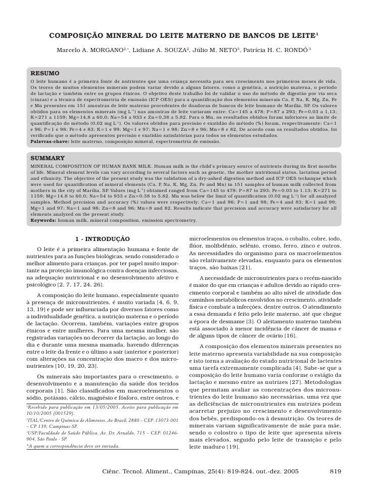 COMPOSIÇÃO MINERAL DO LEITE MATERNO DE BANCOS DE LEITE1                Marcelo A. MORGANO2,∗, Lidiane A. SOUZA2, Júlio M. ...