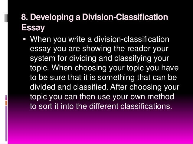 classification essay on jobs