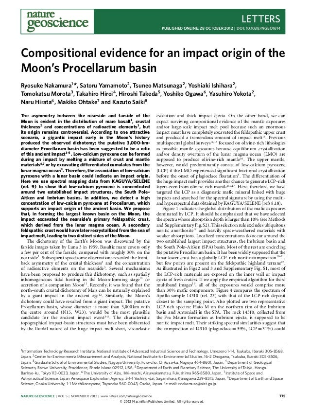 Compositional evidence for_an_impact_origin_of_moons_procellarum_basin