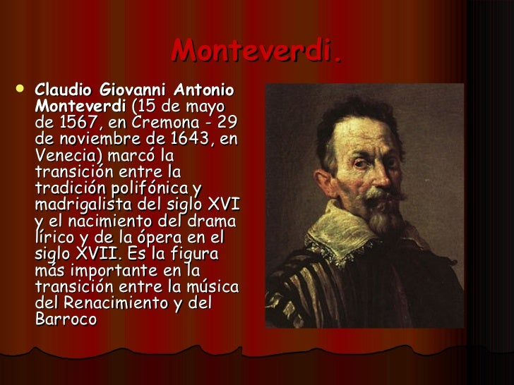 claudio monteverdi essay Claudio monteverdi was an italian composer whose work bridged the late renaissance and early baroque eras this lesson will explore his life and.