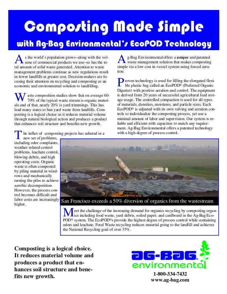 Composting Made Simple with Ag-Bag Environmental's EcoPOD TechnologyA     s the world's population grows−along with the vo...