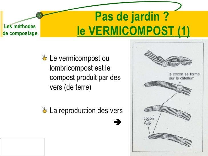 Pas de jardin ?  le VERMICOMPOST  (1) <ul><li>Le vermicompost ou lombricompost est le compost produit par des vers (de ter...