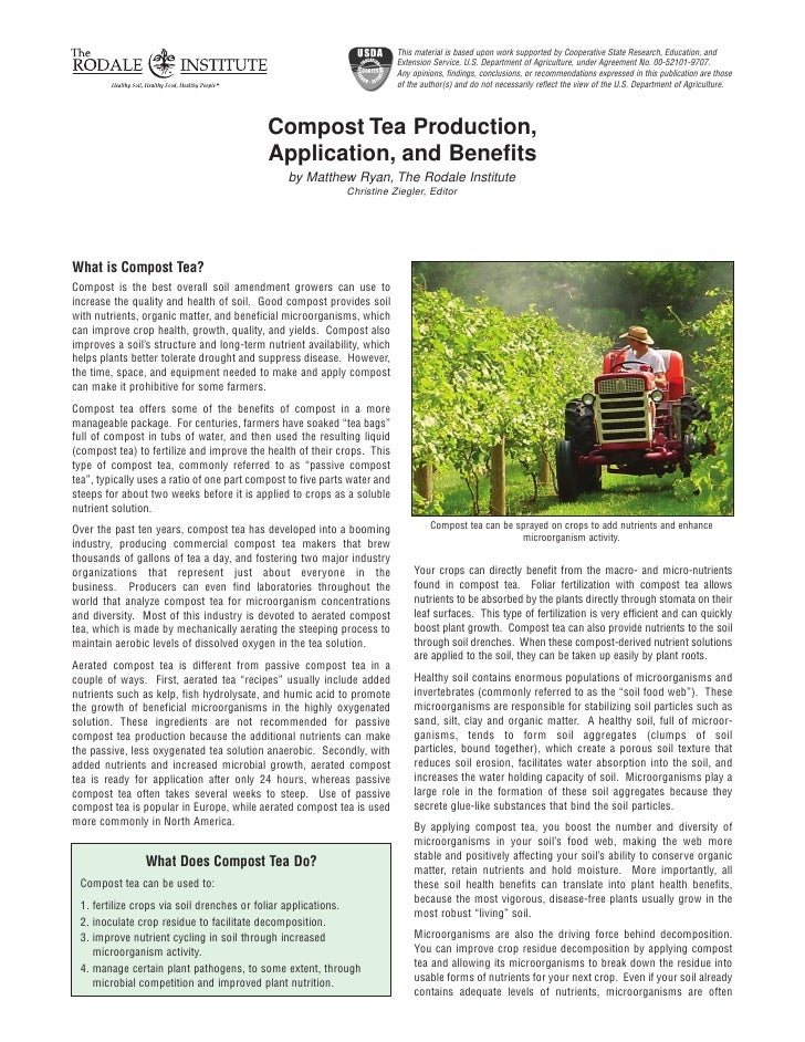 Compost Tea Production, Application, and Benefits