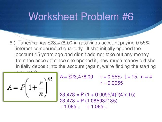 Compound interest practice worksheet with answers