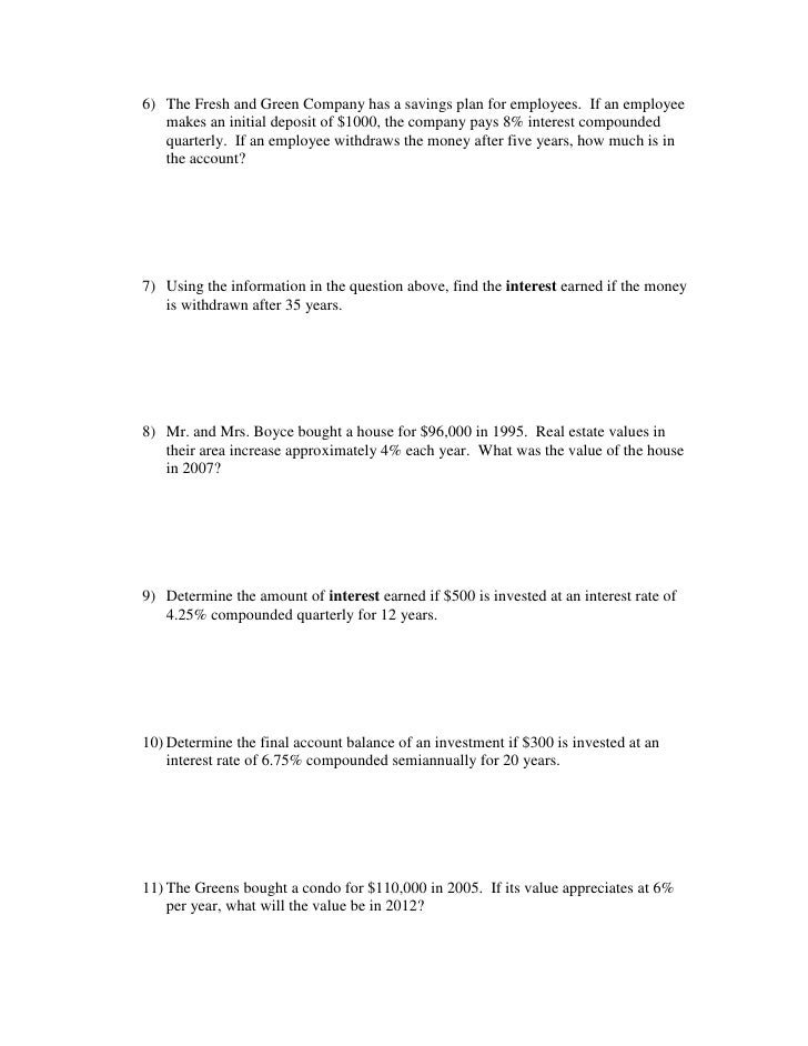 Compound Interest Formula Worksheet - Compound interest ...