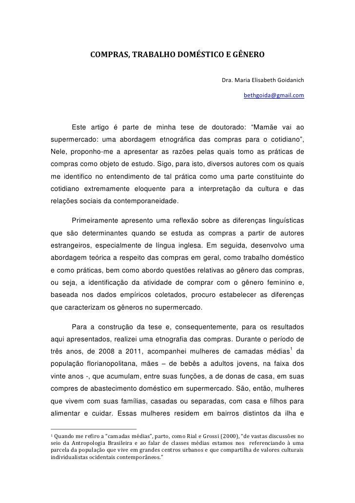 COMPRAS, TRABALHO DOMÉSTICO E GÊNERO                                                                 Dra. Maria Elisabeth ...