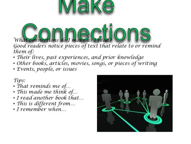 What connections do I make as I read?Good readers notice pieces of text that relate to or remindthem of:• Their lives, pas...