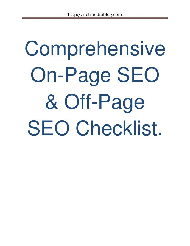 Comprehensive on page seo & off-page seo checklist
