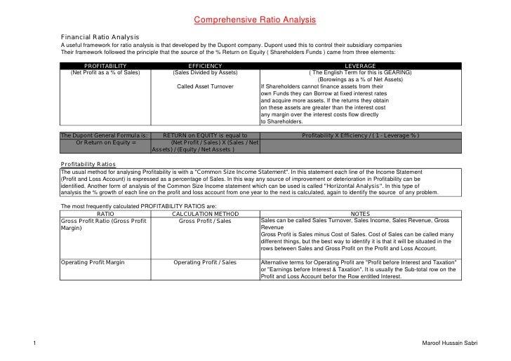 Comprehensive  Ratio  Analysis