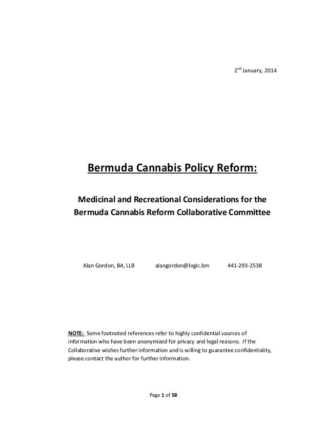 Comprehensive Cannabis Policy Review -- Bermuda -- Alan Gordon