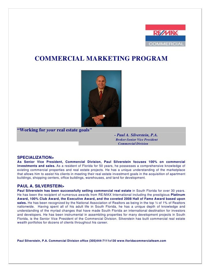 """COMMERCIAL MARKETING PROGRAM""""Working for your real estate goals""""                                                          ..."""