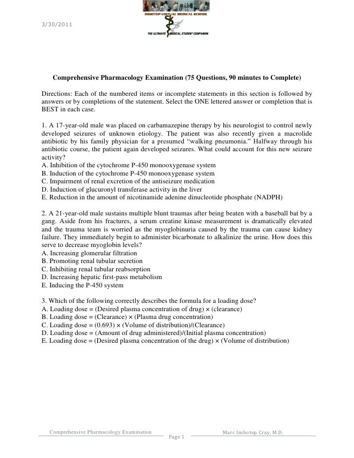 3/30/2011   Comprehensive Pharmacology Examination (75 Questions, 90 minutes to Complete)Directions: Each of the numbered ...