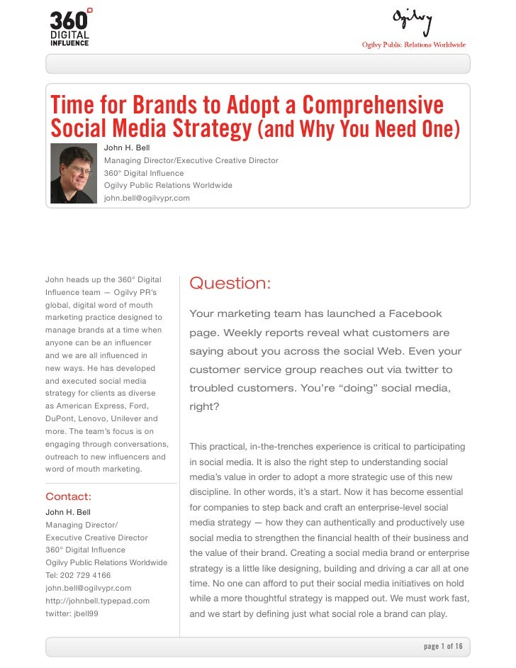 Comprehensive social media strategy by john bell