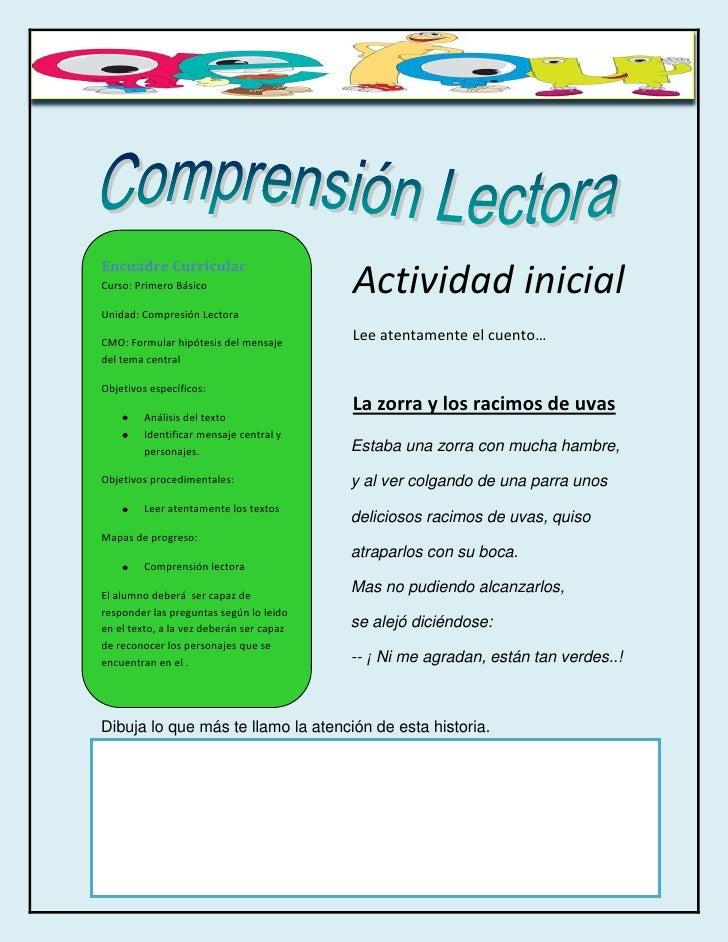 Encuadre CurricularCurso: Primero Básico                     Actividad inicialUnidad: Compresión LectoraCMO: Formular hipó...