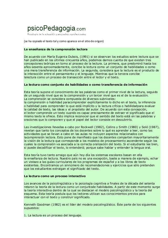 (se ha copiado el texto tal y como aparece en el sitio de origen)La enseñanza de la comprensión lectoraDe acuerdo con Marí...