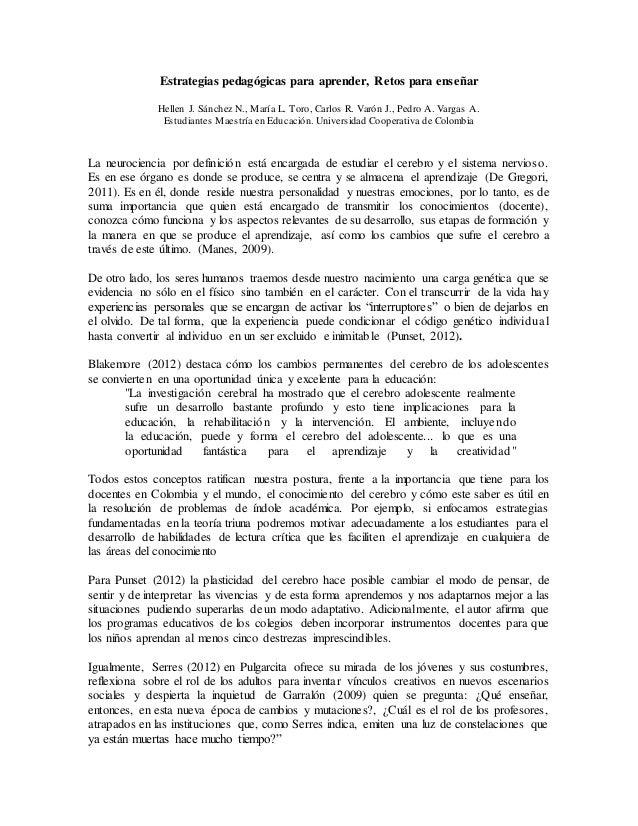 Estrategias pedagógicas para aprender, Retos para enseñar Hellen J. Sánchez N., María L. Toro, Carlos R. Varón J., Pedro A...