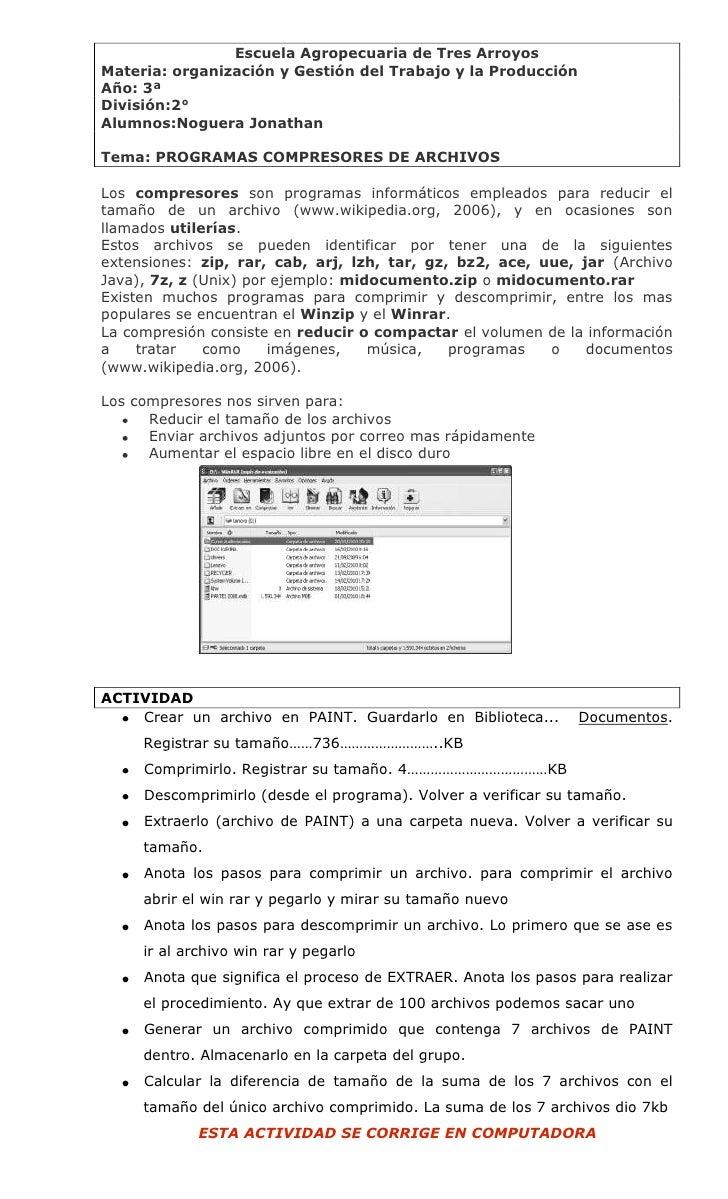Escuela Agropecuaria de Tres Arroyos Materia: organización y Gestión del Trabajo y la Producción Año: 3ª División:2° Alumn...
