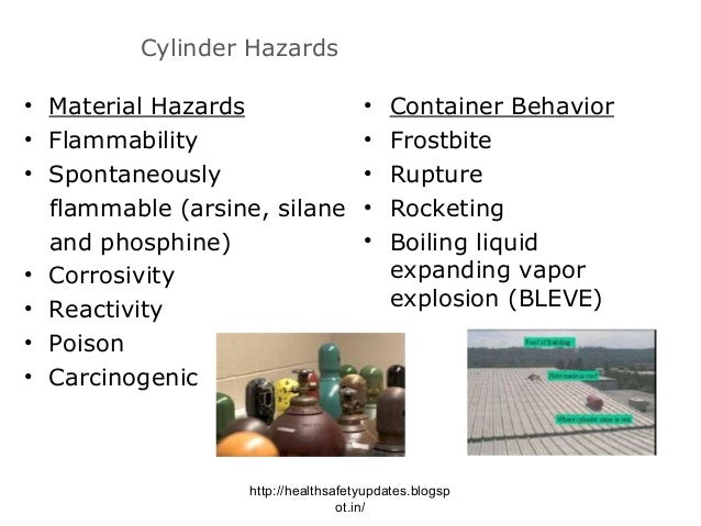 a report on the risks of carrying the hazardous gas cylinders Summary: compressed gas cylinders can present a variety of hazards due to their pressure and /or contents this program covers requirements which must be followed for the use of all compressed gases in addition to the standard required work practices for inert gases, hazardous gases may require additional controls and work practices including, but not limited to, the use of gas cabinets, gas.