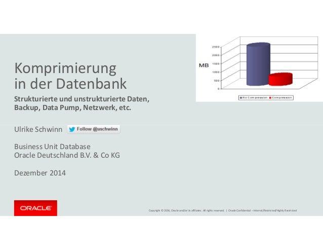 Komprimierung  in der Datenbank  Strukturierte und unstrukturierte Daten,  Backup, Data Pump, Netzwerk, etc.  Ulrike Schwi...
