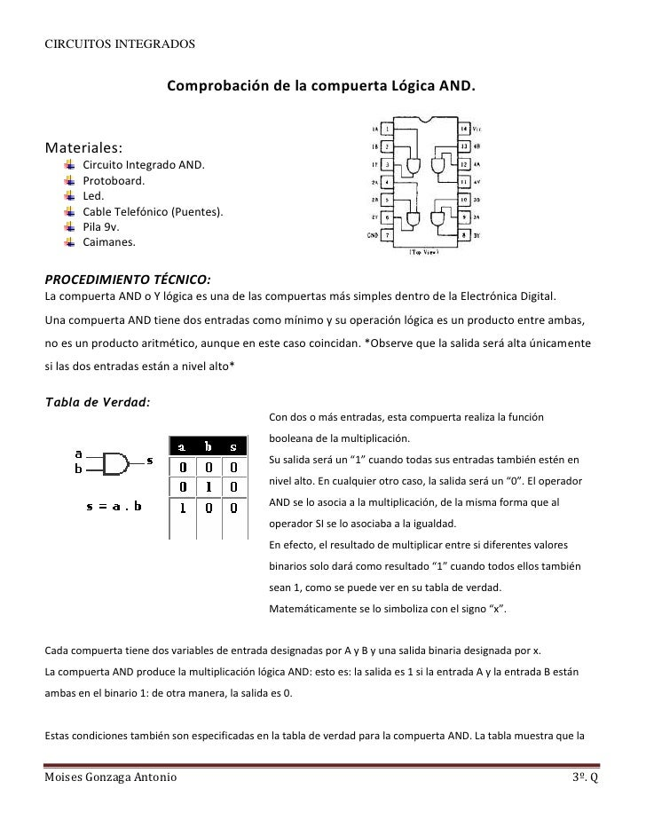 Comprobación de la compuerta Lógica AND.<br />379410918195600<br />Materiales:<br />Circuito Integrado AND. <br />Protoboa...
