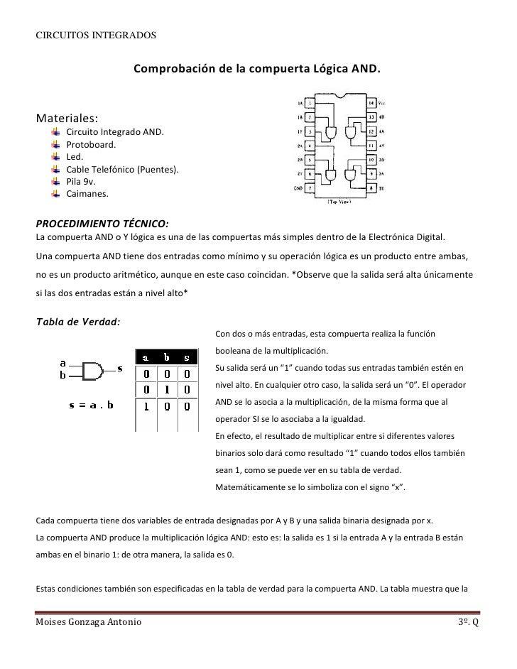 Comprobación de la compuerta lógica and