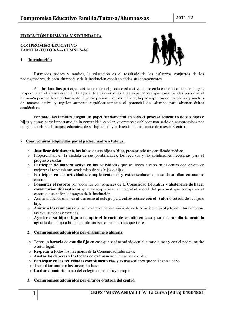 Compromiso Educativo Familia/Tutor-a/Alumnos-as                                              2011-12EDUCACIÓN PRIMARIA Y S...